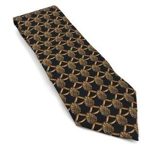 Valentino Black and Gold Shell Silk Tie